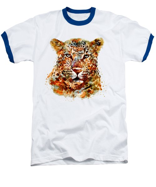 Leopard Head Watercolor Baseball T-Shirt by Marian Voicu