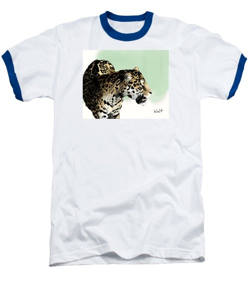 Baseball T-Shirt featuring the digital art Leopard by Walter Chamberlain