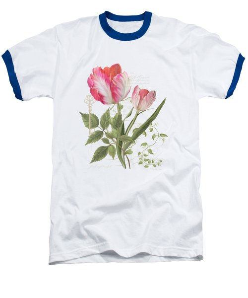 Les Magnifiques Fleurs I - Magnificent Garden Flowers Parrot Tulips N Indigo Bunting Songbird Baseball T-Shirt by Audrey Jeanne Roberts
