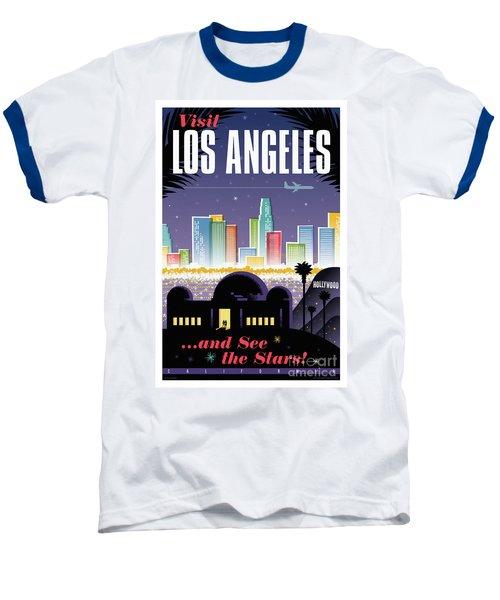 Los Angeles Retro Travel Poster Baseball T-Shirt by Jim Zahniser