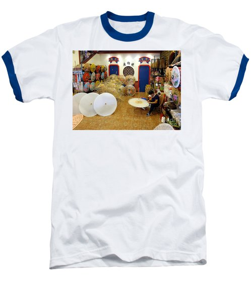Baseball T-Shirt featuring the photograph Making Chinese Paper Umbrellas by Yali Shi