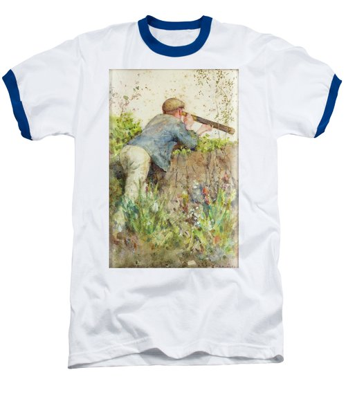 Baseball T-Shirt featuring the painting Man Looking Through A Telescope by Henry Scott Tuke