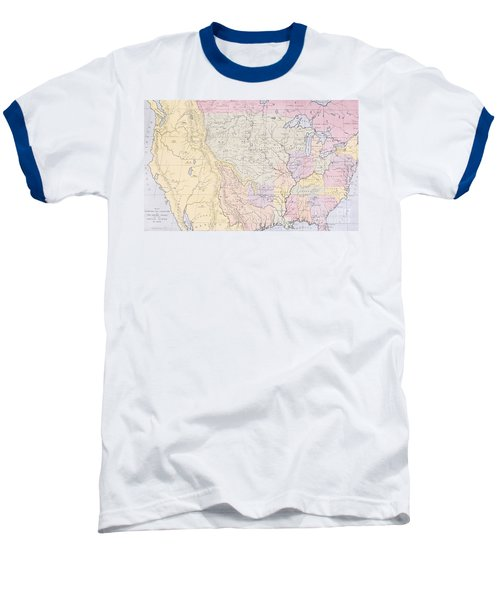 Map Showing The Localities Of The Indian Tribes Of The Us In 1833 Baseball T-Shirt by Thomas L McKenney and James Hall