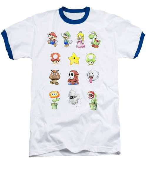 Mario Characters In Watercolor Baseball T-Shirt by Olga Shvartsur