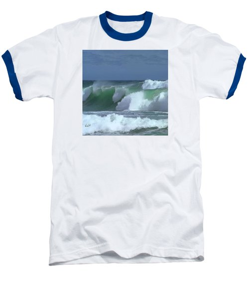 Baseball T-Shirt featuring the digital art Monterey Surf by Walter Chamberlain