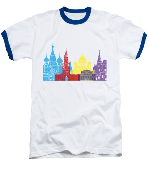 Moscow Skyline Pop Baseball T-Shirt by Pablo Romero