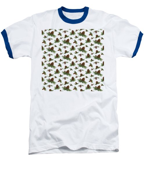 Mountain Lodge Cabin In The Forest - Home Decor Pine Cones Baseball T-Shirt by Audrey Jeanne Roberts