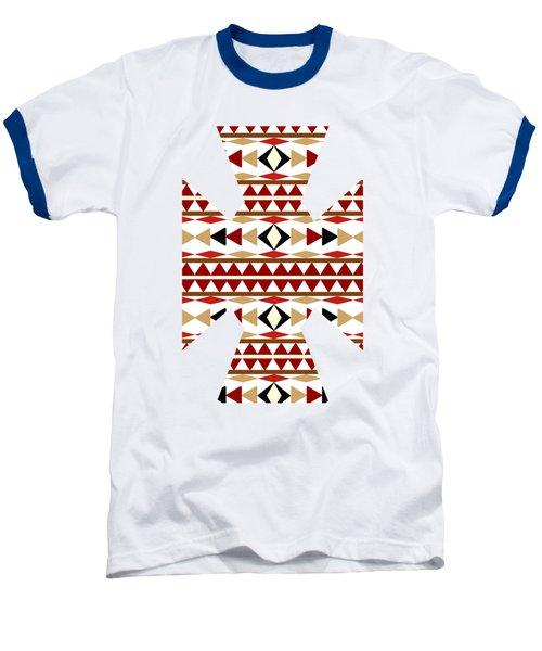 Navajo White Pattern Art Baseball T-Shirt by Christina Rollo