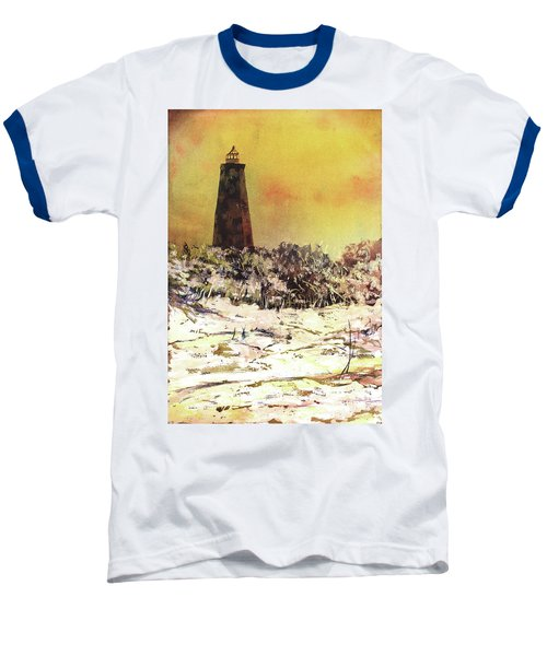 Baseball T-Shirt featuring the painting Old Baldy Lighthouse- North Carolina by Ryan Fox