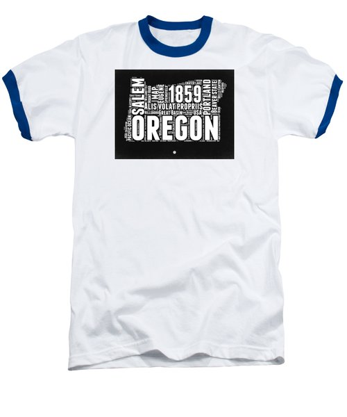 Oregon Black And White Map Baseball T-Shirt by Naxart Studio