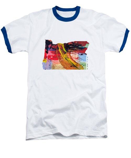 Oregon Map Art - Painted Map Of Oregon Baseball T-Shirt by World Art Prints And Designs
