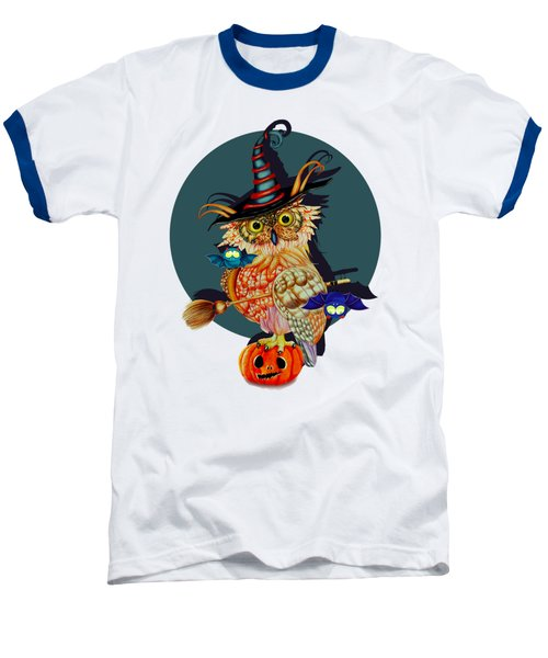Owl Scary Baseball T-Shirt by Isabel Salvador