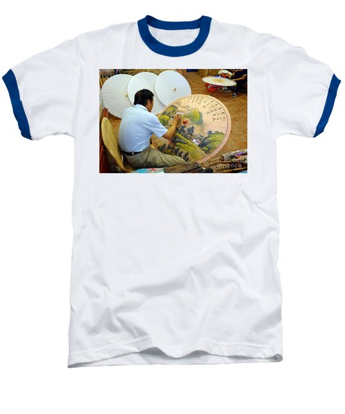 Baseball T-Shirt featuring the photograph Painting Chinese Oil-paper Umbrellas by Yali Shi
