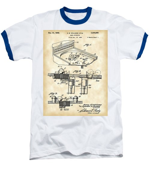 Pinball Machine Patent 1939 - Vintage Baseball T-Shirt by Stephen Younts