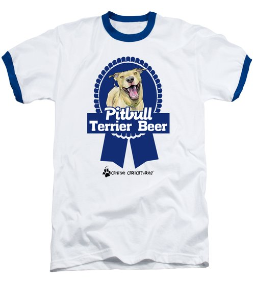 Pit Bull Terrier Beer Baseball T-Shirt by John LaFree
