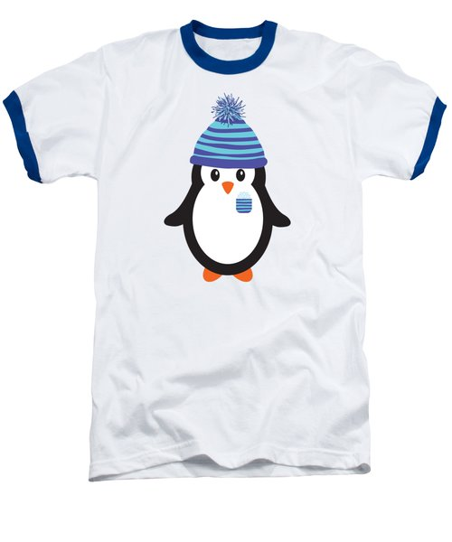 Pocket Snowflake The Penguin Baseball T-Shirt by Natalie Kinnear