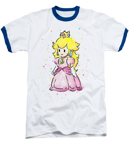 Princess Peach Watercolor Baseball T-Shirt by Olga Shvartsur