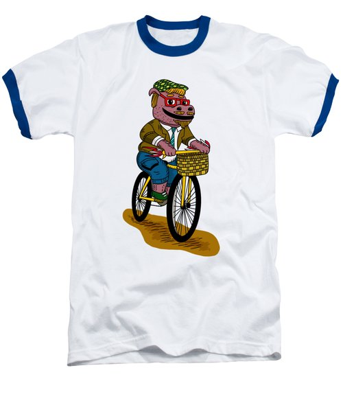 Pun Intended - Hipsterpotamus - Hipsters- Funny Design Baseball T-Shirt by Paul Telling