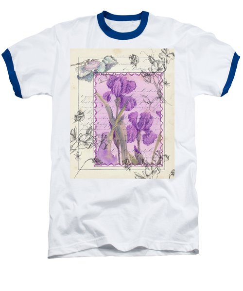 Baseball T-Shirt featuring the drawing Purple Iris by Cathie Richardson