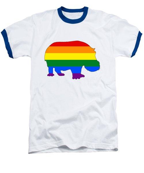Rainbow Hippo Baseball T-Shirt by Mordax Furittus
