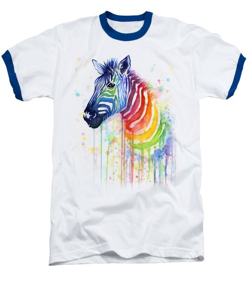 Rainbow Zebra - Ode To Fruit Stripes Baseball T-Shirt by Olga Shvartsur