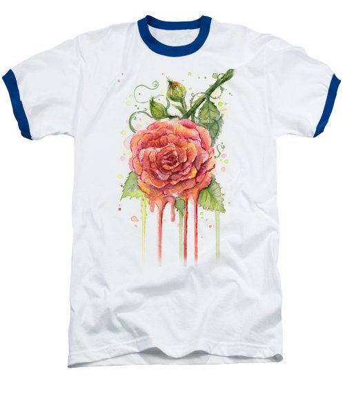 Red Rose Dripping Watercolor  Baseball T-Shirt by Olga Shvartsur