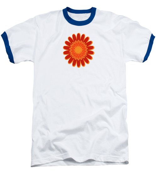 Red Sunflower Pattern Baseball T-Shirt by Methune Hively