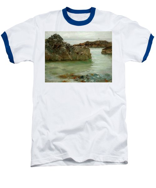Baseball T-Shirt featuring the painting Rocks At Newport by Henry Scott Tuke