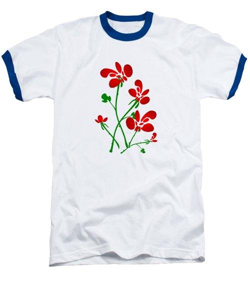 Rooster Flowers Baseball T-Shirt by Anastasiya Malakhova
