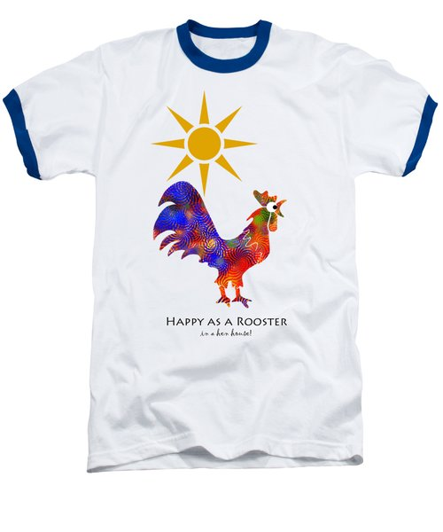 Rooster Pattern Art Baseball T-Shirt by Christina Rollo
