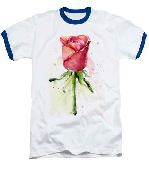 Rose Watercolor Baseball T-Shirt by Olga Shvartsur