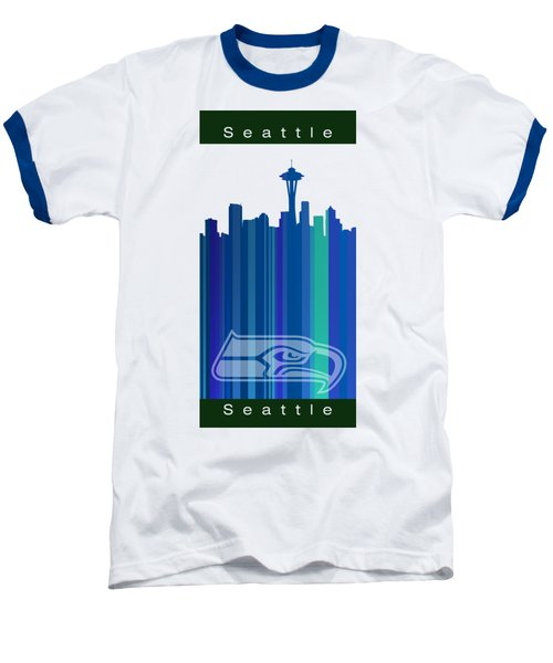 Seattle Sehawks Skyline Baseball T-Shirt by Alberto RuiZ