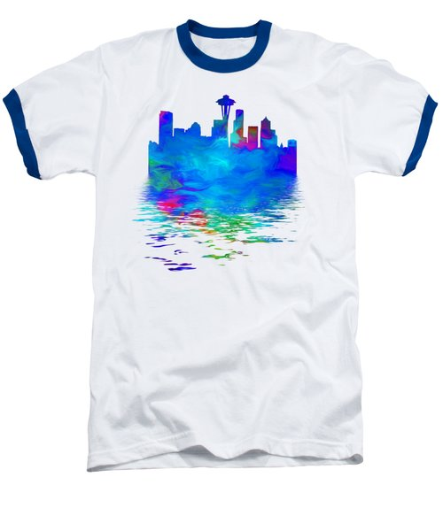 Seattle Skyline, Blue Tones On White Baseball T-Shirt by Pamela Saville