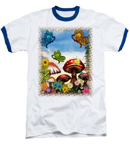 Shroomvilla Summer Fantasy Folk Art Baseball T-Shirt by Sharon and Renee Lozen