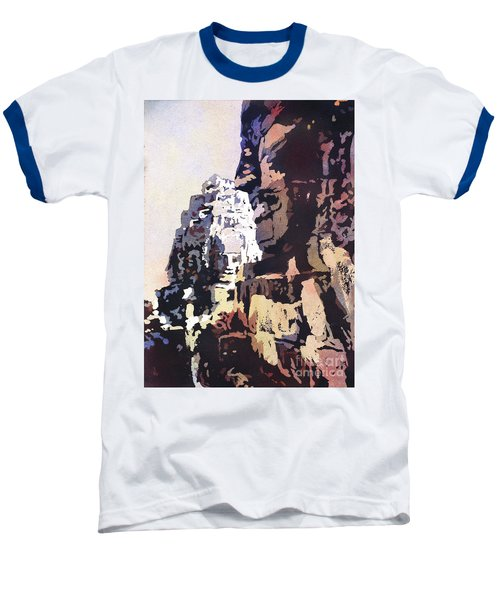 Baseball T-Shirt featuring the painting Smiling Faces- Bayon Temple, Cambodia by Ryan Fox