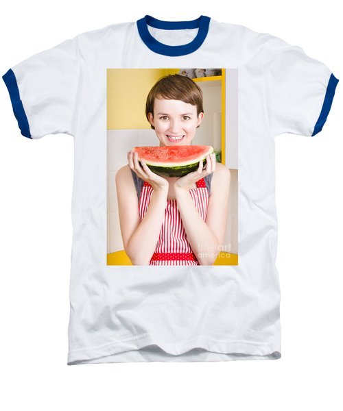 Smiling Young Woman Eating Fresh Fruit Watermelon Baseball T-Shirt by Jorgo Photography - Wall Art Gallery
