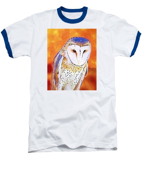 Baseball T-Shirt featuring the digital art White Face Barn Owl by Tracie Kaska