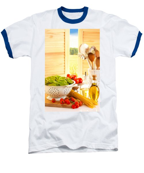 Spaghetti And Tomatoes In Country Kitchen Baseball T-Shirt by Amanda Elwell