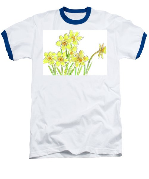 Baseball T-Shirt featuring the painting Spring Daffodils by Cathie Richardson