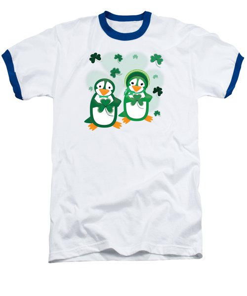 St. Patrick's Day Penguins Baseball T-Shirt by Jane E Rankin