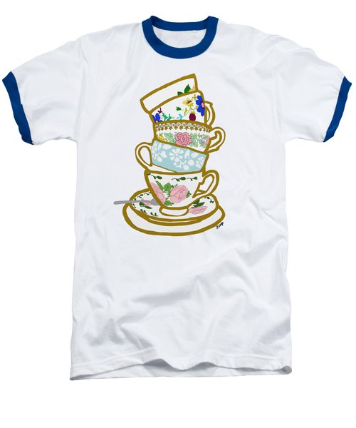 Stacked Teacups Baseball T-Shirt by Priscilla Wolfe