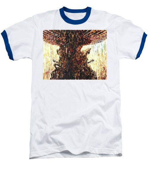 Baseball T-Shirt featuring the painting Statues On Las Vegas Fountain- Las Vegas, Nevada by Ryan Fox