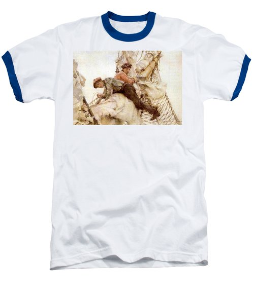 Baseball T-Shirt featuring the painting Stowing The Headsails  by Henry Scott Tuke