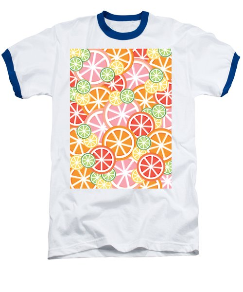 Sweet And Sour Citrus Print Baseball T-Shirt by Lauren Amelia Hughes