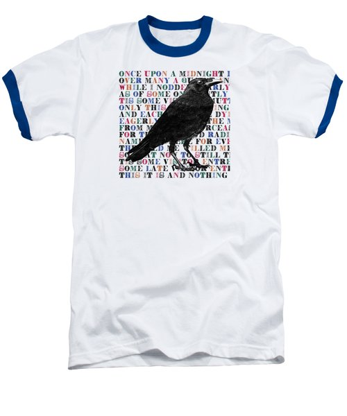 The Raven Poem Art Print Baseball T-Shirt by Sandra McGinley