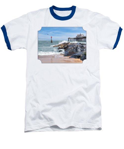 Tide's Turning - Southwold Pier Baseball T-Shirt by Gill Billington