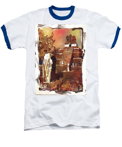 Baseball T-Shirt featuring the painting Tikal Mayan Ruins- Guatemala by Ryan Fox