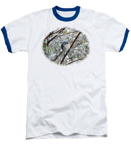 Titmouse On Snowy Branch Baseball T-Shirt by Larry Bishop