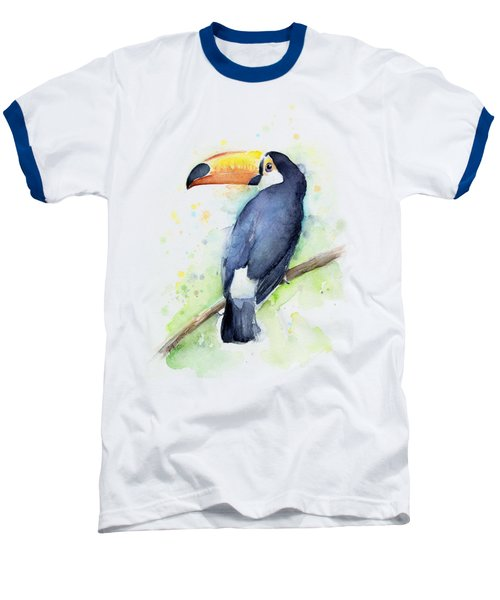 Toucan Watercolor Baseball T-Shirt by Olga Shvartsur