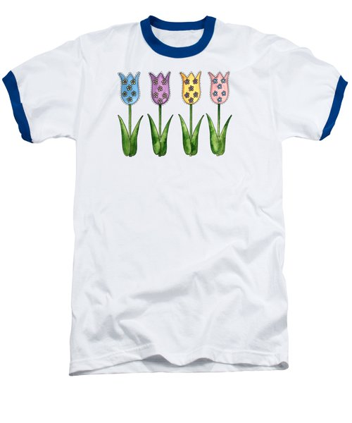 Tulip Row Baseball T-Shirt by Shelley Wallace Ylst